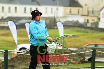 Caolan Rafferty (Dundalk) after teeing of in the third round of the South of Ireland Championship at Lahinch. Saturday 28th July 2018. Picture: Niall O'Shea