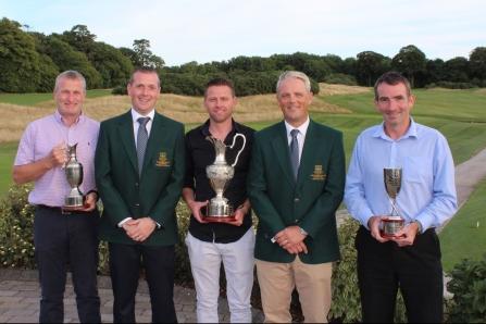 Winner Intermediate Cup Rory O'Dwyer (Berehaven GC), President JP Twomey, Winner Junior Cup Gary Morgan (Castlemartyr LGC), Captain Donal Golden, representing Winner of Minor Cup Brendan Bolger (Fermoy GC).