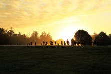 The sun rising on the range at Carton House yesterday morning before the start of the Eisenhower Trophy at the World Amateur Team Championship. Picture: Niall O'Shea