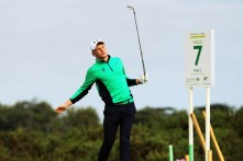 John Murphy watches his ball during the opening round of the Eisenhower Trophy at the World Amateur Team Championships at Carton House. Picture: Niall O'Shea