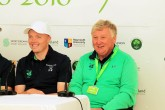 Ireland golfer Robin Dawson and Irish Team Captain John Carroll smiling after the opening round of the Eisenhower Trophy at Carton House. Picture: Niall O'Shea
