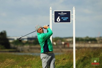 James Sugrue (Mallow) teeing off the 6th in Portmarnock during the first round of the 2019 Amateur Championship. Picture: Niall O'Shea
