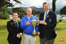 Garth McGimpsey (Royal Portrush) receiving the Munster Seniors Trophy from Jim Long, Chairman Munster Golf. Also included is James Curran, Captain Killarney Golf & Fishing Club. Picture: Niall O'Shea