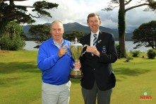 Garth McGimpsey (Royal Portrush) receiving the Munster Seniors Trophy from Jim Long, Chairman Munster Golf. Picture: Niall O'Shea