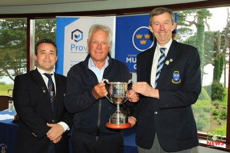 Peter Cowley (Cork) receiving the Munster Veterans Trophy from Jim Long, Chairman Munster Golf. Also included is James Curran, Captain Killarney Golf & Fishing Club. Picture: Niall O'Shea