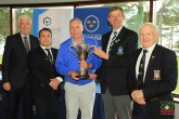 Garth McGimpsey (Royal Portrush) receiving the Munster Seniors Trophy from Jim Long, Chairman Munster Golf. Also included is Mark O'Sullivan, Provest (sponsor), James Curran, Captain & Tom Prendergast, President, Killarney Golf & Fishing Club. Picture: Niall O'Shea