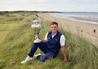 James Sugrue (Mallow) winner of the 2019 The Amateur Championship at Portmarnock Golf Club today (22/06/2019). Picture by Pat Cashman