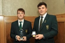 Munster Junior Gofler of the Year Fionn Hickey (Muskerry) pictured with the James Sugrue (Mallow who won the Senior GOlfer of the Year award. Picture: Niall O'Shea
