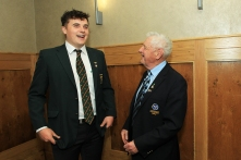 Munster Senior Golfer of the Year James Sugrue shares a joke with Michael P Murphy from Munster Golf at the annual awards presentation. Picture: Niall O'Shea
