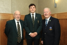 Munster Senior Golfer of the Year James Sugrue pictured with Sean O'Leary (Mahon) and Barry Lynch (Raffeen Creek) at the Munster Golf Annual Delegates Meeting. Picture: Niall O'Shea