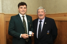 Munster Senior Golfer of the Year and Amateur Championship winner James Sugrue pictured with Liam Troy at the Munster Golf Annual Delegates Meeting. Picture: Niall O'Shea