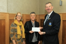 Jim Long, Chairman Munster Golf presenting a donation to Noreen Murphy and Mary Fogarty from Cope Foundation Mallow. Picture: Niall O'Shea