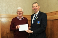 Jim Long, Chairman Munster Golf presenting a donation to Jerry Mullane from Cope Foundation Mallow. Picture: Niall O'Shea