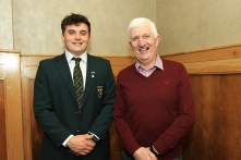 Munster Senior Golfer of the Year and Amateur Championship winner James Sugrue pictured with Jerry Mullane at the Munster Golf Annual Awards. Picture: Niall O'Shea