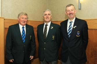 Irish Captains John Carroll (Irish Mens Team) and Michael Coote (Irish Seniors Team) pictured with Jim Long, Chairman Munster Golf at the Annual Delegates Meeting in Mallow. Picture: Niall O'Shea