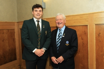 Munster Senior Golfer of the Year James Sugrue pictured with Michael P Murphy at the Munster Golf Annual Awards. Picture: Niall O'Shea
