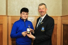 Lucas Lyons (Limerick) being presented with the Munster Under 14 Order of Merit award from Jim Long, Chairman Munster Golf. Picture: Niall O'Shea