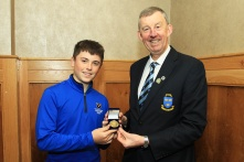 Morgan O'Sullivan (Ballyneety) being presented with the Munster Under 16 Order of Merit award from Jim Long, Chairman Munster Golf. Picture: Niall O'Shea