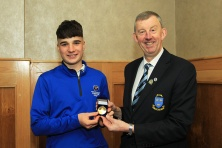 Mel Deasy (Lee Valley) being presented with the Munster Under 18 Order of Merit award from Jim Long, Chairman Munster Golf. Picture: Niall O'Shea