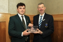 James Sugrue (Mallow) being presented with the Munster Senior Golfer of the Year award from Jim Long, Chairman Munster Golf. Picture: Niall O'Shea
