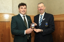 James Sugrue (Mallow) being presented with the Munster Senior Order of Merit medal from Jim Long, Chairman Munster Golf. Picture: Niall O'Shea