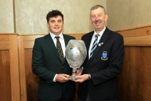 James Sugrue (Mallow) being presented with a special commemorative award frollowing his win in the Amateur Championship from Jim Long, Chairman Munster Golf. Picture: Niall O'Shea