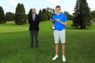 Eoin Magill from East Clare, winner of Munster Boys Under 16 Open Championship at Roscrea Golf Club, pictured with Jim Long, Chairman Munster Golf Picture: Niall O'Shea
