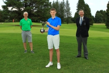 Eoin Magill from East Clare, winner of Munster Boys Under 16 Open Championship at Roscrea Golf Club, pictured with Roscrea Captain Fabian Jones and Jim Long, Chairman Munster Golf Picture: Niall O'Shea