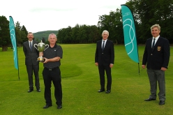 Munster Seniors winner John O'Brien (Castlemartyr) pictured with Jim Long, Chairman Golf Ireland Munster Regional Executive Committee, Mark O'Sullivan, Provest and Tony O'Sullivan Captain Tipperary Golf Club. Picture: Niall O'Shea