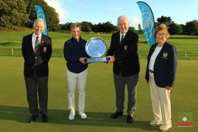 Cork Golf Club Captain Bob Savage presenting the Bruen Carr Trophy (Best U25) to Robert Moran. Also included are President Vincent Twohig and Lady President Margaret Keane. Picture: Niall O'Shea