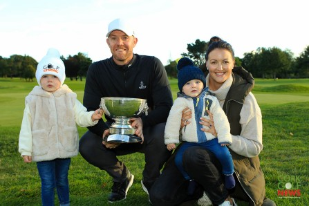 Muster Stroke Play winner Peter O'Keeffe pictured with his wife Mary-Claire and kids Alice and Billy after his win in Cork Golf Club. Picture: Niall O'Shea