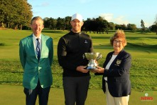 Munster Stroke Play winner Peter O'Keeffe receiving the Cork Scratch Cup from MArgaret Keane, Lady President Cork Golf Club. Also included is Jim Long, Chairman Munster Regional Executive, Golf Ireland. Picture: Niall O'Shea