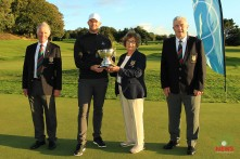 Munster Stroke Play winner Peter O'Keeffe receiving the Cork Scratch Cup from Margaret Keane, Lady Presidetn Cork Golf Club. Also included are Vincent Twohig President and Bob Savage Captain Cork Golf Club. Picture: Niall O'Shea