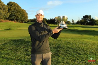 Munster Stroke Play winner Peter O'Keeffe pictured with the Cork Scratch Cup which he retained Picture: Niall O'Shea